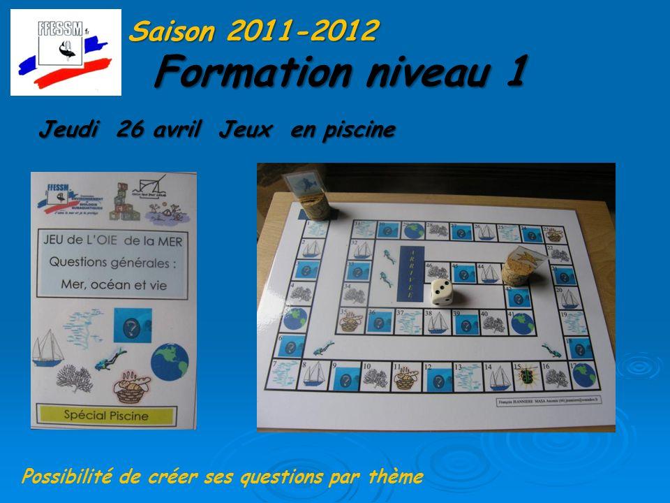 Formation niveau 1 Saison 2011-2012 Jeudi 26 avril Jeux en piscine Possibilité de créer ses questions par thème