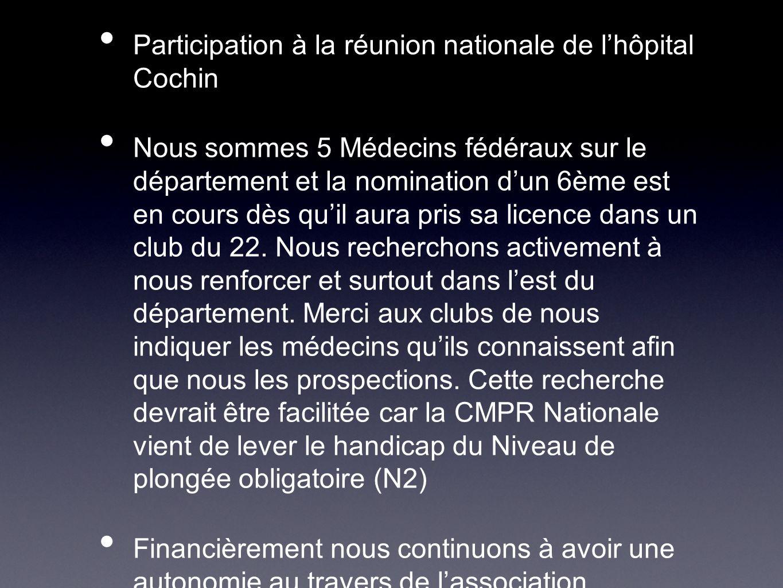 Participation à lAG Régionale Participation à la réunion nationale de lhôpital Cochin Nous sommes 5 Médecins fédéraux sur le département et la nominat