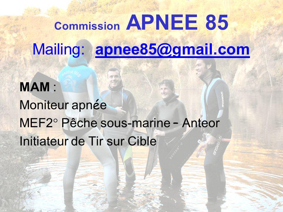 Commission APNEE 85 Mailing: apnee85@gmail.com MAM : Moniteur apn é e MEF2° Pêche sous-marine – Anteor Initiateur de Tir sur Cible