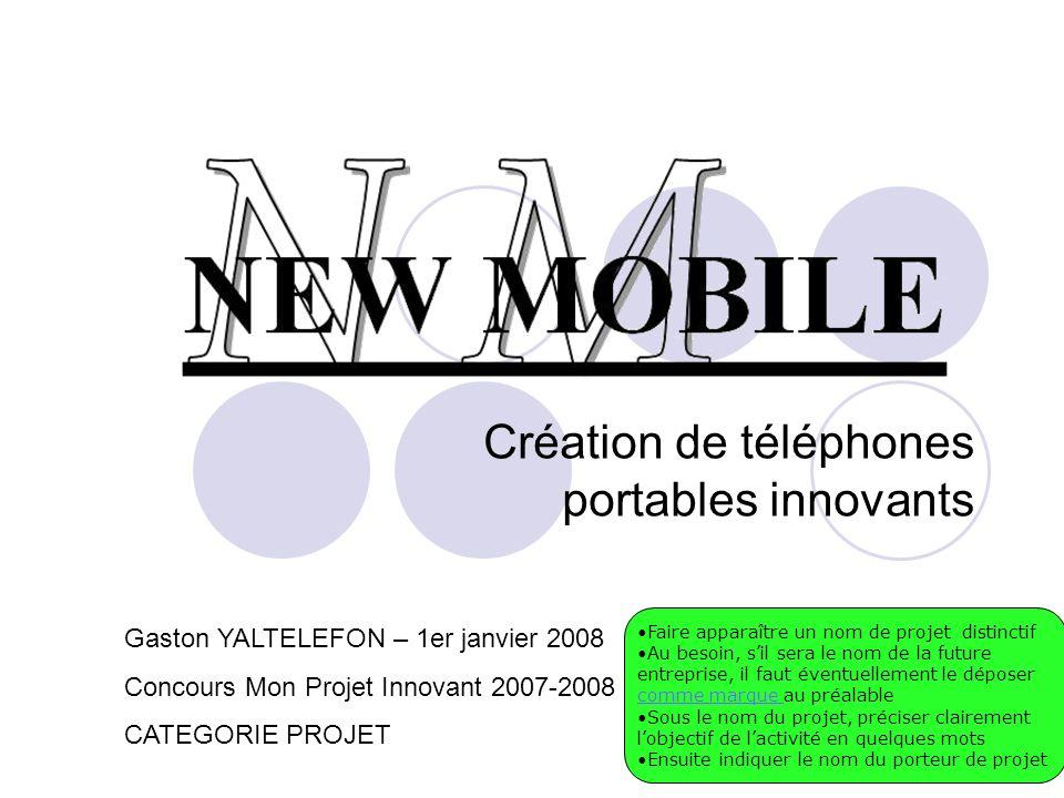 Création de téléphones portables innovants Gaston YALTELEFON – 1er janvier 2008 Concours Mon Projet Innovant 2007-2008 CATEGORIE PROJET Faire apparaît
