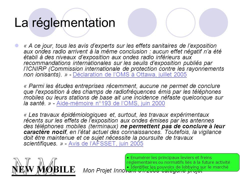 Mon Projet Innovant 01/2008 catégorie projet La réglementation « A ce jour, tous les avis dexperts sur les effets sanitaires de lexposition aux ondes