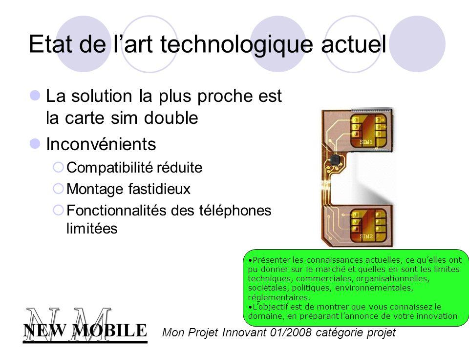 Mon Projet Innovant 01/2008 catégorie projet Les aspects innovants Un téléphone portable capable de gérer plusieurs cartes SIM en même temps Présenter la partie technologique de votre innovation, sauf si vous navez pas encore breveté.