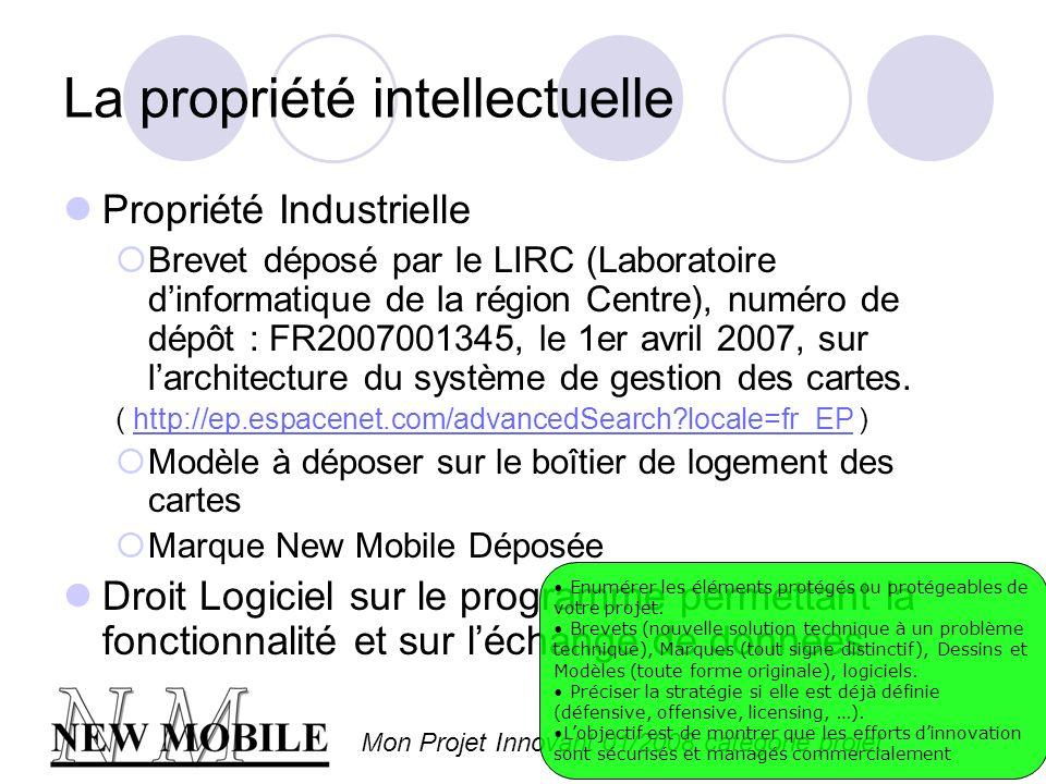 Mon Projet Innovant 01/2008 catégorie projet La propriété intellectuelle Propriété Industrielle Brevet déposé par le LIRC (Laboratoire dinformatique de la région Centre), numéro de dépôt : FR2007001345, le 1er avril 2007, sur larchitecture du système de gestion des cartes.