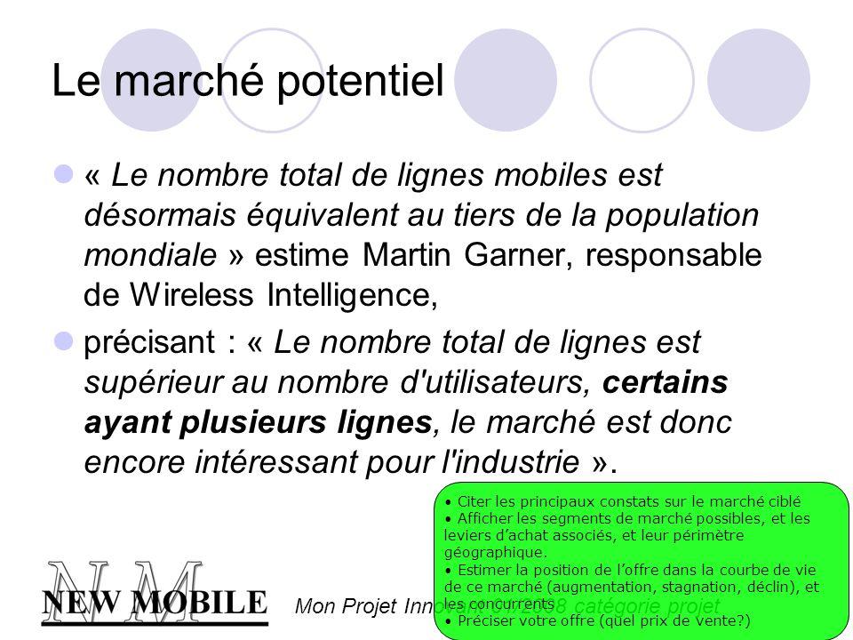 Mon Projet Innovant 01/2008 catégorie projet Le marché potentiel « Le nombre total de lignes mobiles est désormais équivalent au tiers de la population mondiale » estime Martin Garner, responsable de Wireless Intelligence, précisant : « Le nombre total de lignes est supérieur au nombre d utilisateurs, certains ayant plusieurs lignes, le marché est donc encore intéressant pour l industrie ».
