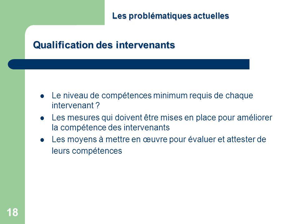 18 Le niveau de compétences minimum requis de chaque intervenant ? Les mesures qui doivent être mises en place pour améliorer la compétence des interv