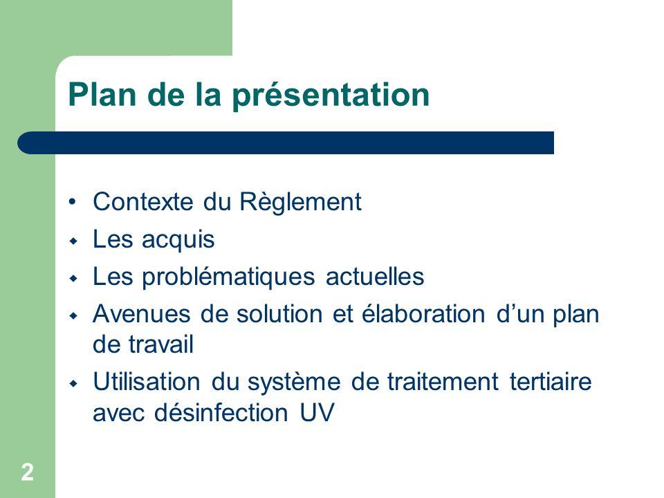 2 Plan de la présentation Contexte du Règlement Les acquis Les problématiques actuelles Avenues de solution et élaboration dun plan de travail Utilisa