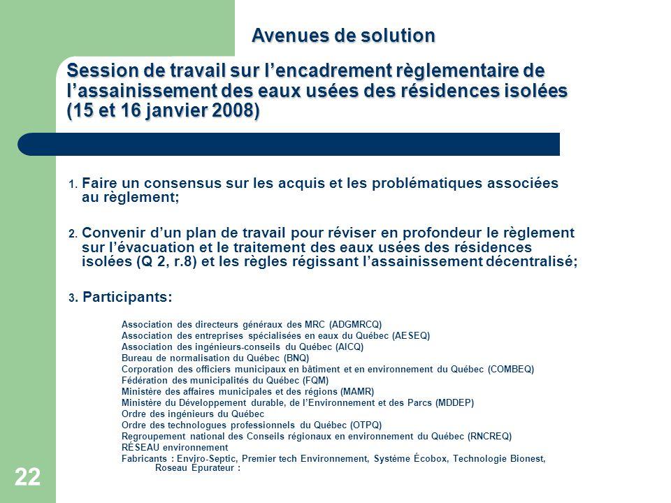 22 Session de travail sur lencadrement règlementaire de lassainissement des eaux usées des résidences isolées (15 et 16 janvier 2008) 1. Faire un cons