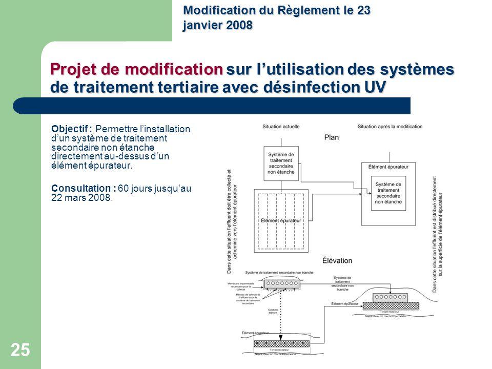 25 Projet de modification sur lutilisation des systèmes de traitement tertiaire avec désinfection UV Objectif : Permettre linstallation dun système de