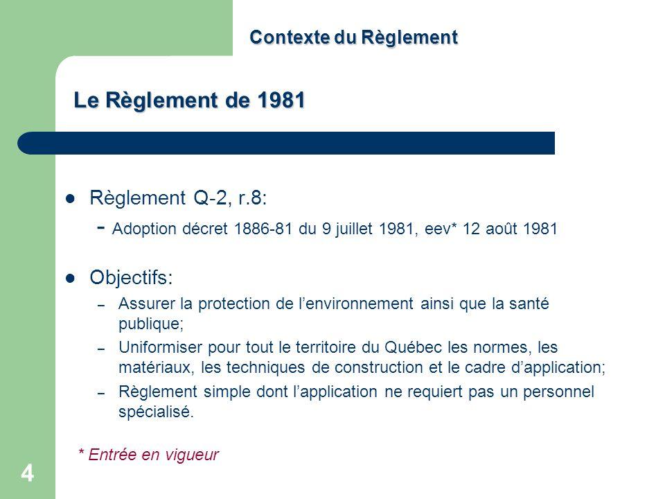 5 Contexte du Règlement Application confiée aux municipalités Champs dapplication Résidences isolées : 6 chambres et moins Autres bâtiments : Q <= 3240 litres/jour Cadre de gestion – permis municipal technologies prévues au Règlement; – autorisation du ministre (art.32 de la LQE) dispositifs non régis par le Règlement Basé sur les modèles en vigueur à lépoque (Ontario, États unis) Règlement majoritairement de type technologique ; Le Règlement de 1981 (suite)
