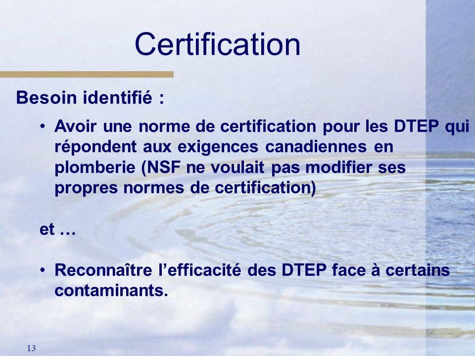 13 Certification Besoin identifié : Avoir une norme de certification pour les DTEP qui répondent aux exigences canadiennes en plomberie (NSF ne voulai