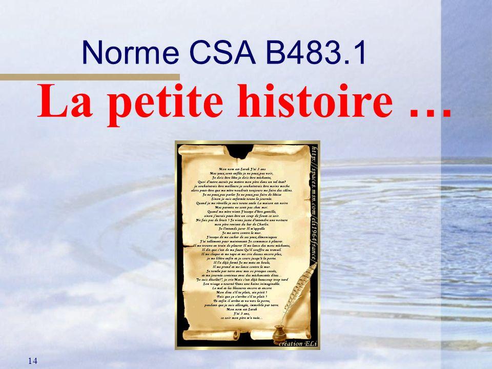 14 Norme CSA B483.1 La petite histoire …