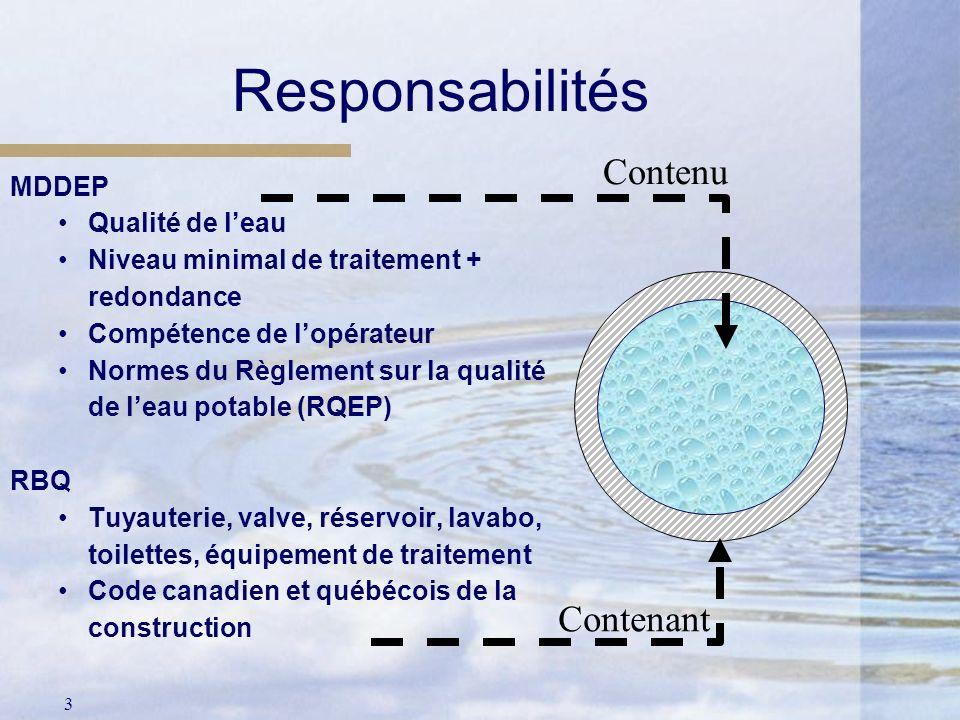 3 Contenant Responsabilités MDDEP Qualité de leau Niveau minimal de traitement + redondance Compétence de lopérateur Normes du Règlement sur la qualit
