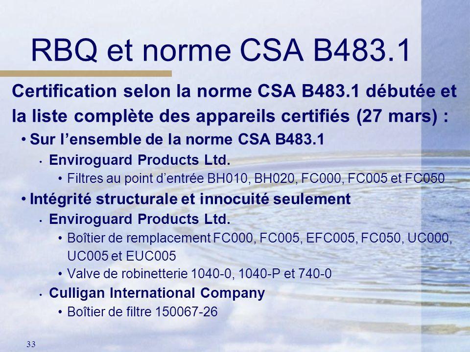 33 Certification selon la norme CSA B483.1 débutée et la liste complète des appareils certifiés (27 mars) : Sur lensemble de la norme CSA B483.1 Envir