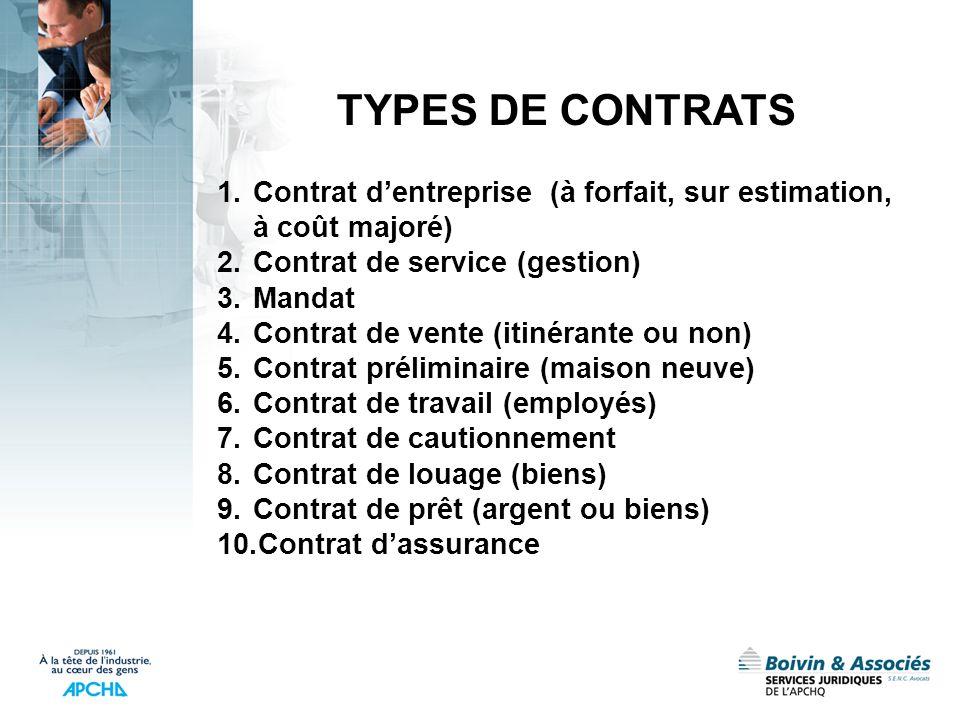 1.Contrat dentreprise (à forfait, sur estimation, à coût majoré) 2.Contrat de service (gestion) 3.Mandat 4.Contrat de vente (itinérante ou non) 5.Cont