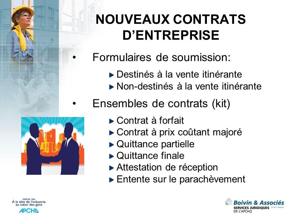 NOUVEAUX CONTRATS DENTREPRISE Formulaires de soumission: Destinés à la vente itinérante Non-destinés à la vente itinérante Ensembles de contrats (kit)