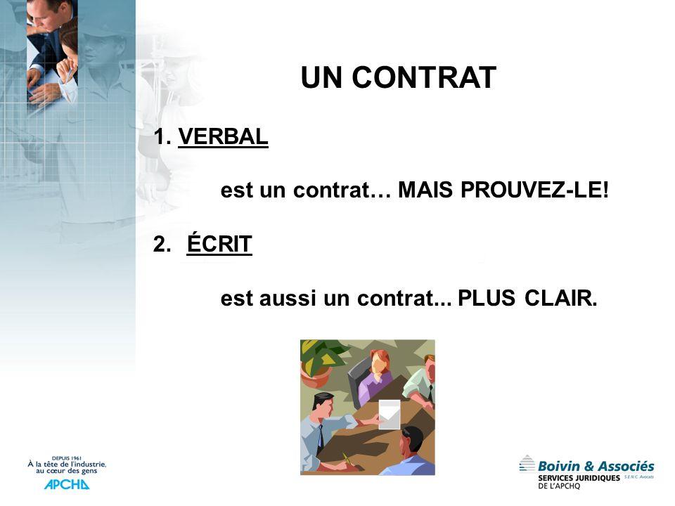 UN CONTRAT 1.VERBAL est un contrat… MAIS PROUVEZ-LE! 2.ÉCRIT est aussi un contrat... PLUS CLAIR.