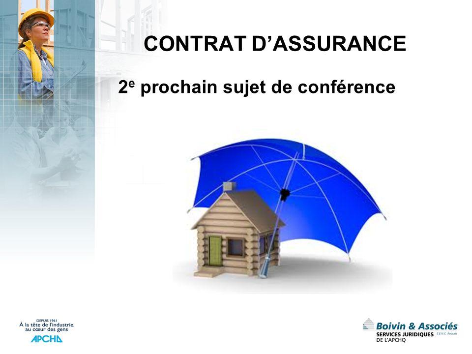 CONTRAT DASSURANCE 2 e prochain sujet de conférence