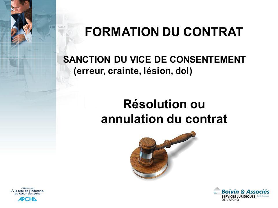 FORMATION DU CONTRAT SANCTION DU VICE DE CONSENTEMENT (erreur, crainte, lésion, dol) Résolution ou annulation du contrat