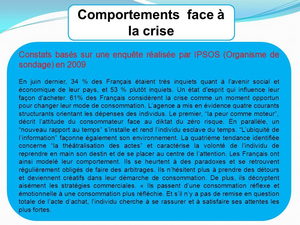 Constats basés sur une enquête réalisée par IPSOS (Organisme de sondage) en 2009 En juin dernier, 34 % des Français étaient très inquiets quant à l avenir social et économique de leur pays, et 53 % plutôt inquiets.