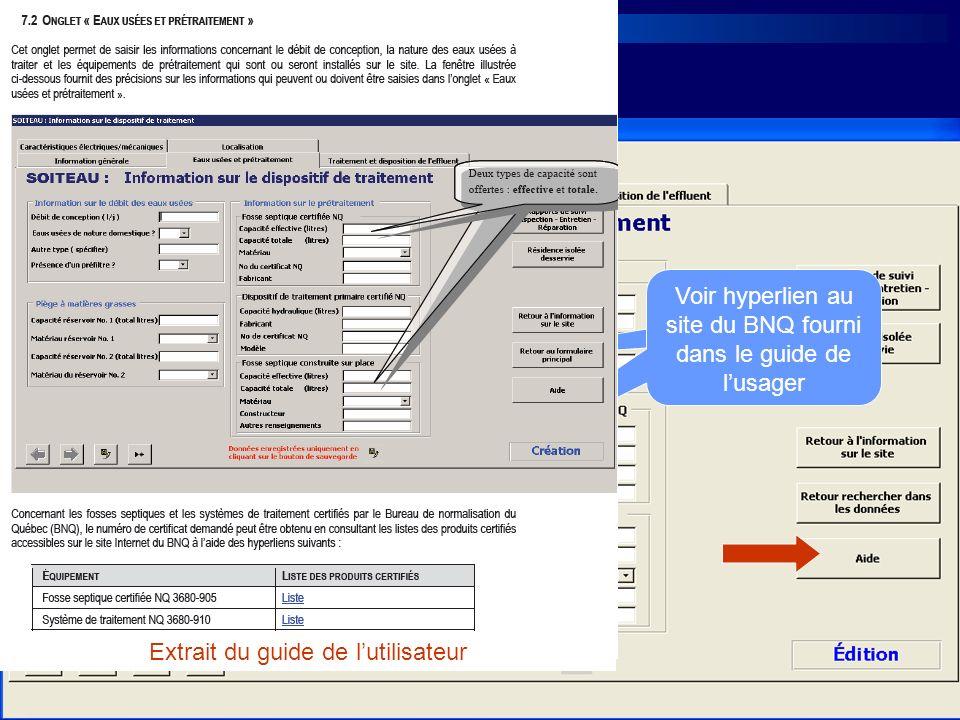 Voir hyperlien au site du BNQ fourni dans le guide de lusager Extrait du guide de lutilisateur