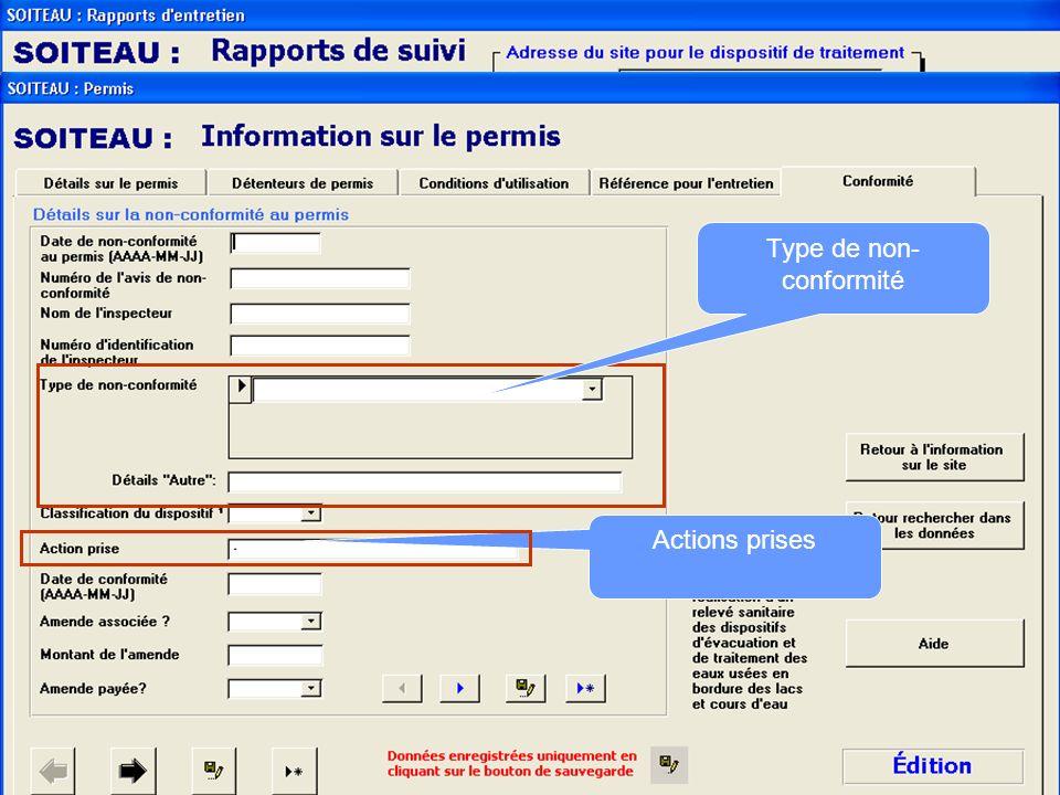 Fait référence aux inspections faites par les municipalités : Avant recouvrement Après recouvrement Suite à une plainte Informations relatives à une p