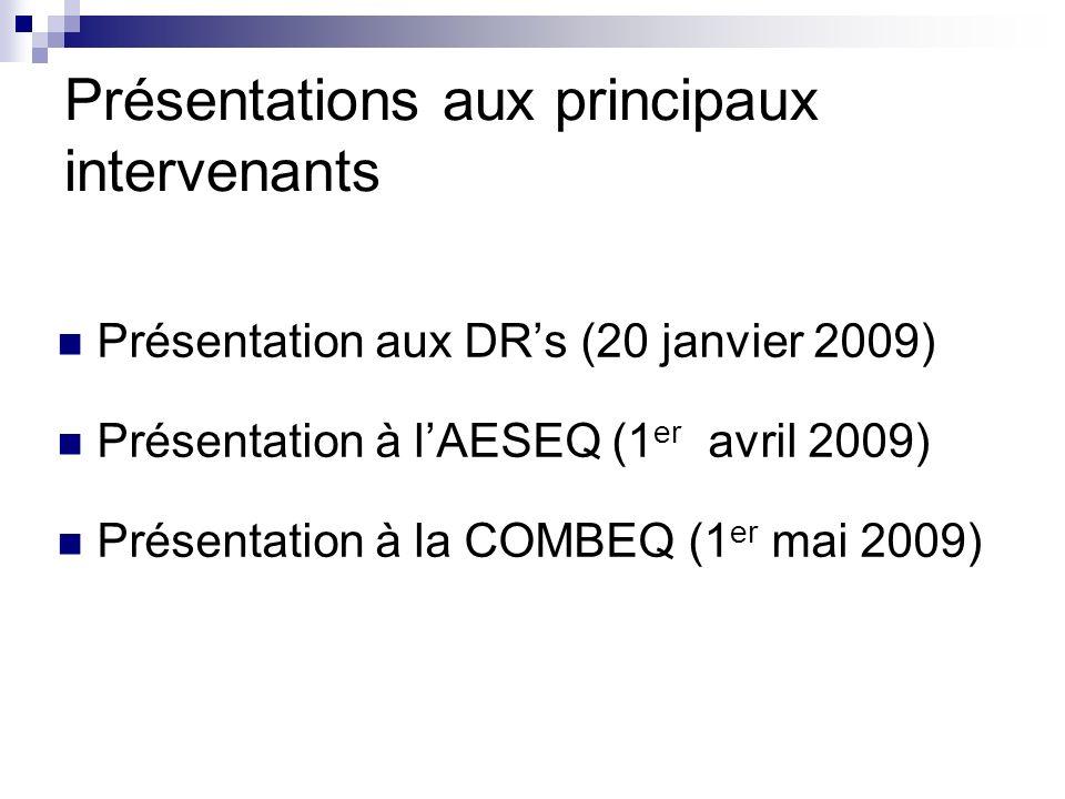 Présentations aux principaux intervenants Présentation aux DRs (20 janvier 2009) Présentation à lAESEQ (1 er avril 2009) Présentation à la COMBEQ (1 e
