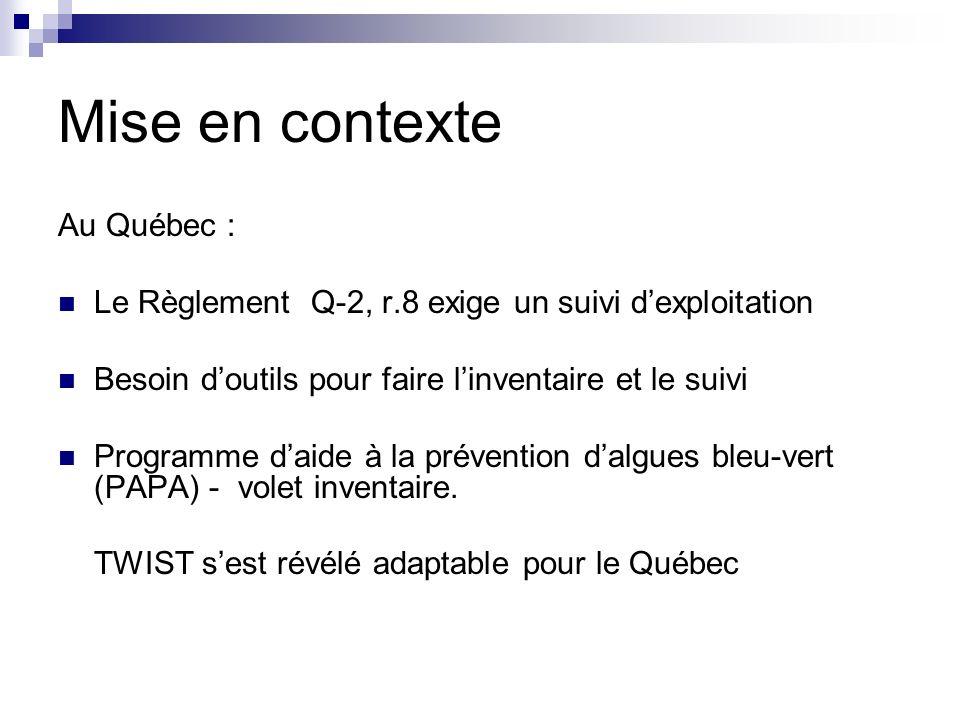 Au Québec : Le Règlement Q-2, r.8 exige un suivi dexploitation Besoin doutils pour faire linventaire et le suivi Programme daide à la prévention dalgu