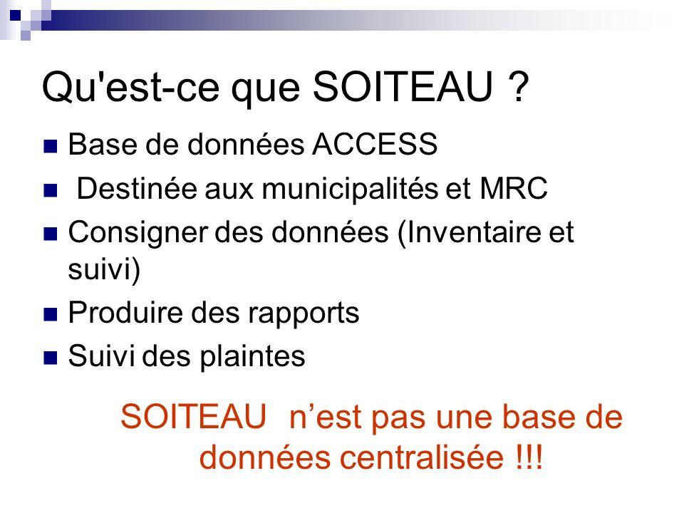 Qu'est-ce que SOITEAU ? Base de données ACCESS Destinée aux municipalités et MRC Consigner des données (Inventaire et suivi) Produire des rapports Sui