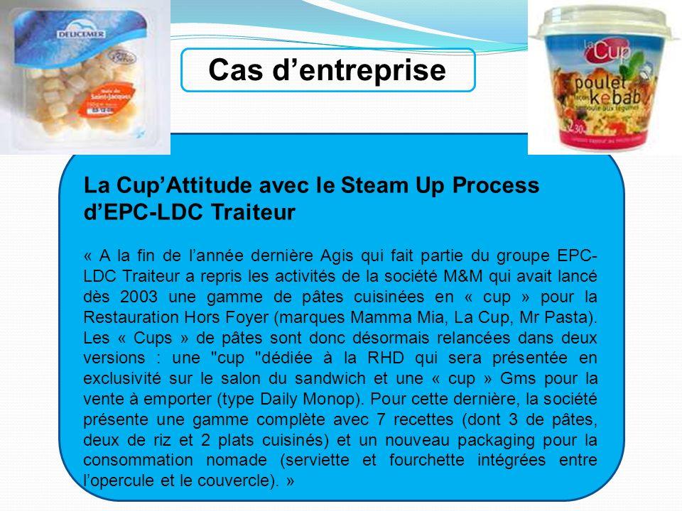 Cas dentreprise La CupAttitude avec le Steam Up Process dEPC-LDC Traiteur « A la fin de lannée dernière Agis qui fait partie du groupe EPC- LDC Traite