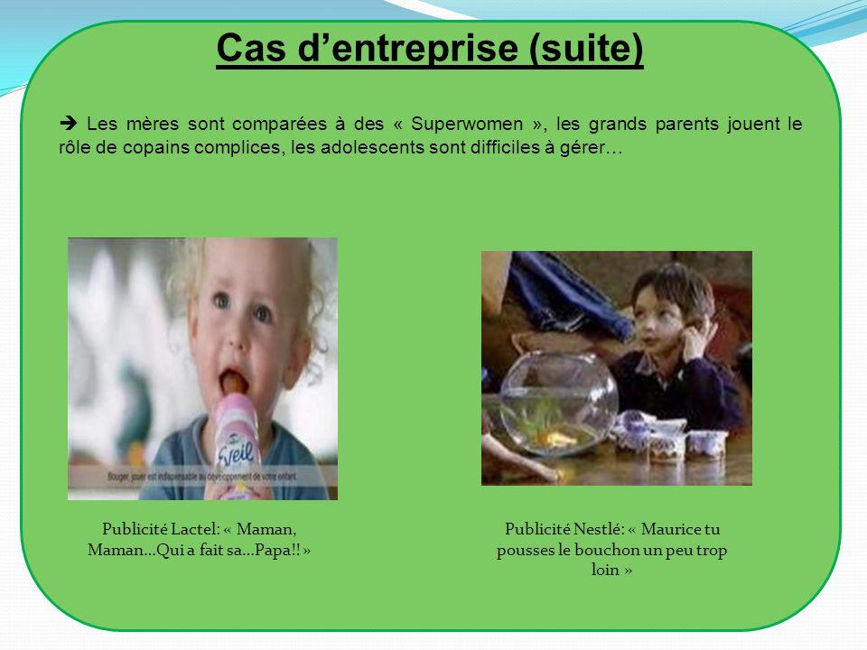 Cas dentreprise (suite) Les mères sont comparées à des « Superwomen », les grands parents jouent le rôle de copains complices, les adolescents sont di