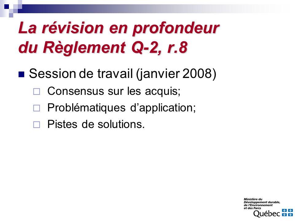 La révision en profondeur du Règlement Q-2, r.8 Session de travail (janvier 2008) Consensus sur les acquis; Problématiques dapplication; Pistes de sol
