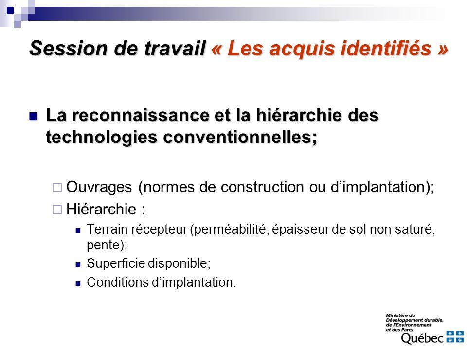 Session de travail « Les acquis identifiés » La reconnaissance et la hiérarchie des technologies conventionnelles; La reconnaissance et la hiérarchie