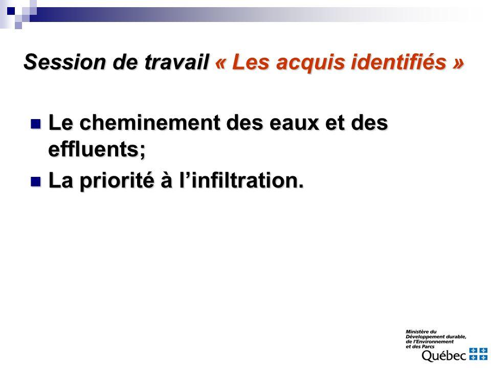 Session de travail « Les acquis identifiés » Le cheminement des eaux et des effluents; Le cheminement des eaux et des effluents; La priorité à linfilt