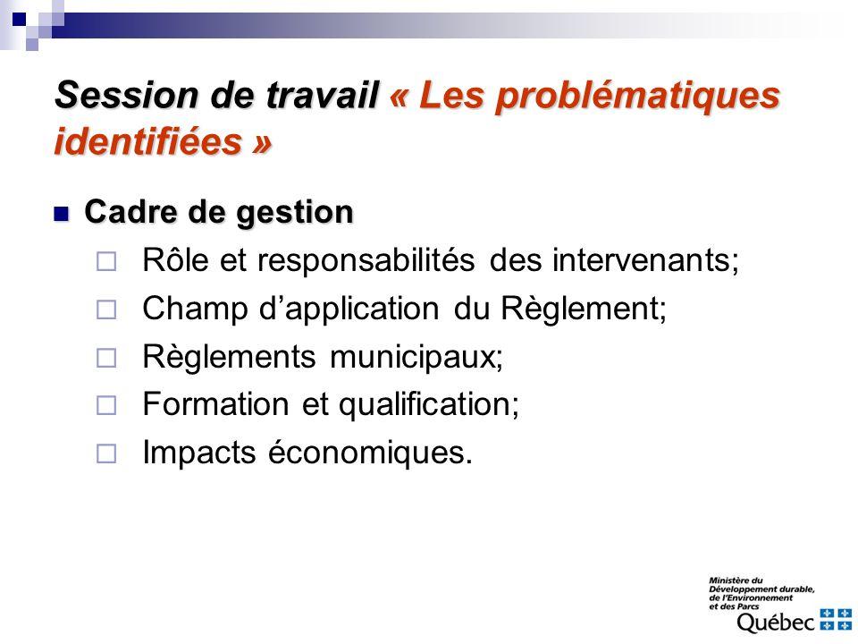 Session de travail « Les problématiques identifiées » Cadre de gestion Cadre de gestion Rôle et responsabilités des intervenants; Champ dapplication d