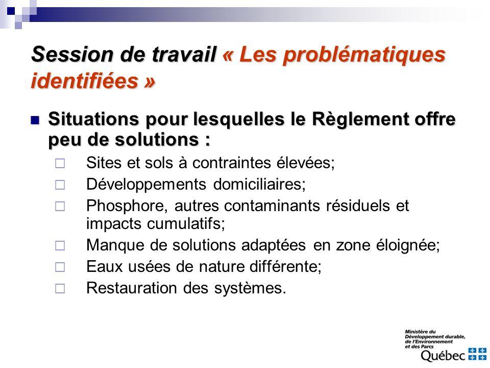 Session de travail « Les problématiques identifiées » Situations pour lesquelles le Règlement offre peu de solutions : Situations pour lesquelles le R