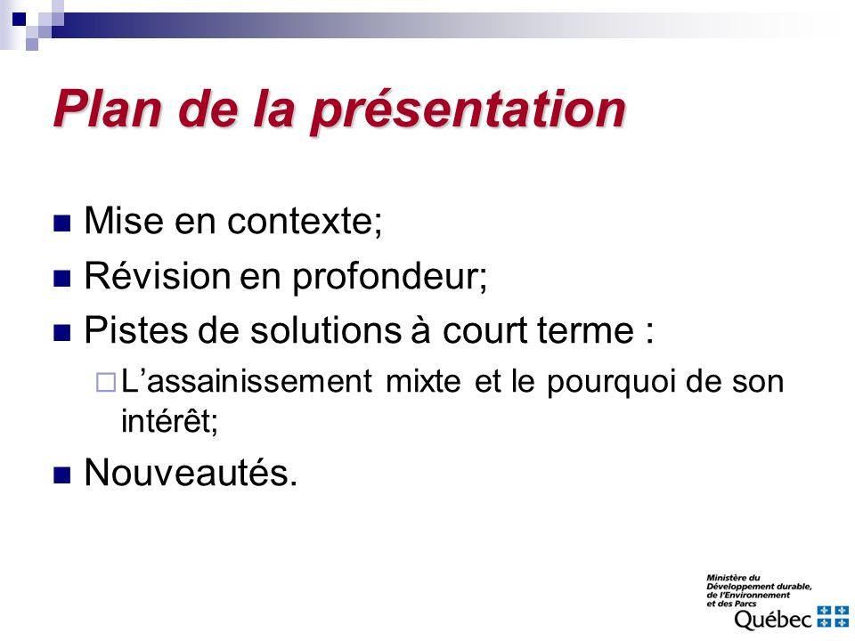 Plan de la présentation Mise en contexte; Révision en profondeur; Pistes de solutions à court terme : Lassainissement mixte et le pourquoi de son inté