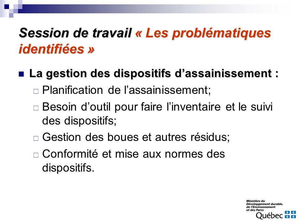 Session de travail « Les problématiques identifiées » La gestion des dispositifs dassainissement : La gestion des dispositifs dassainissement : Planif