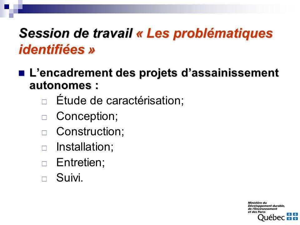 Session de travail « Les problématiques identifiées » Lencadrement des projets dassainissement autonomes : Lencadrement des projets dassainissement au