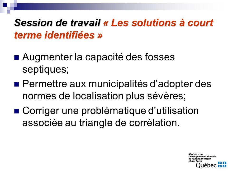 Session de travail « Les solutions à court terme identifiées » Augmenter la capacité des fosses septiques; Permettre aux municipalités dadopter des no