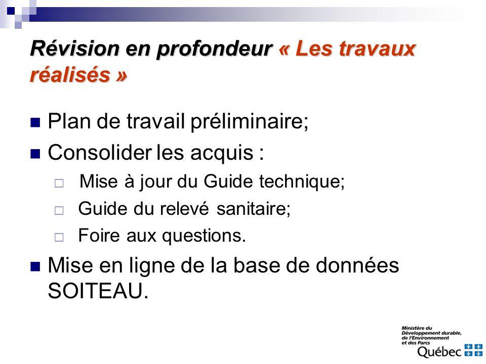 Révision en profondeur « Les travaux réalisés » Plan de travail préliminaire; Consolider les acquis : Mise à jour du Guide technique; Guide du relevé