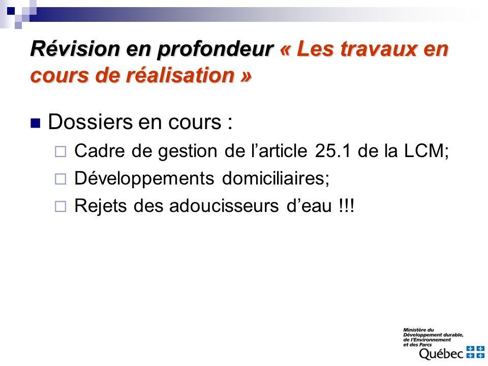 Révision en profondeur « Les travaux en cours de réalisation » Dossiers en cours : Cadre de gestion de larticle 25.1 de la LCM; Développements domicil