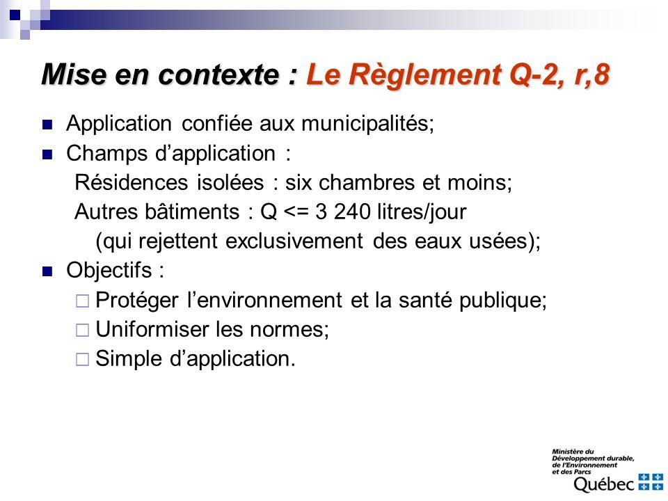 Application confiée aux municipalités; Champs dapplication : Résidences isolées : six chambres et moins; Autres bâtiments : Q <= 3 240 litres/jour (qu
