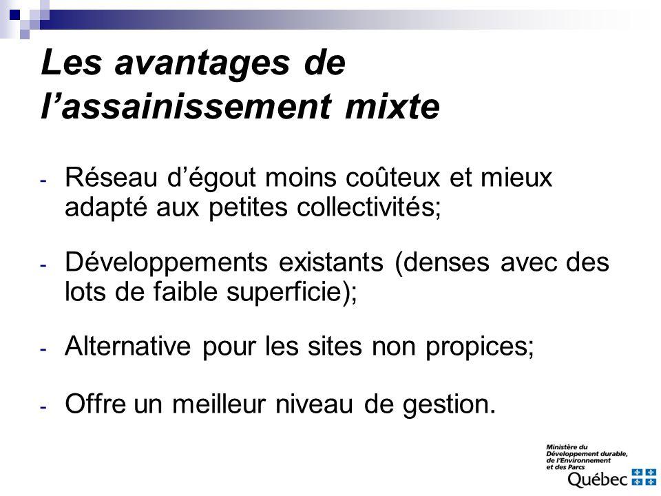 Les avantages de lassainissement mixte - Réseau dégout moins coûteux et mieux adapté aux petites collectivités; - Développements existants (denses ave