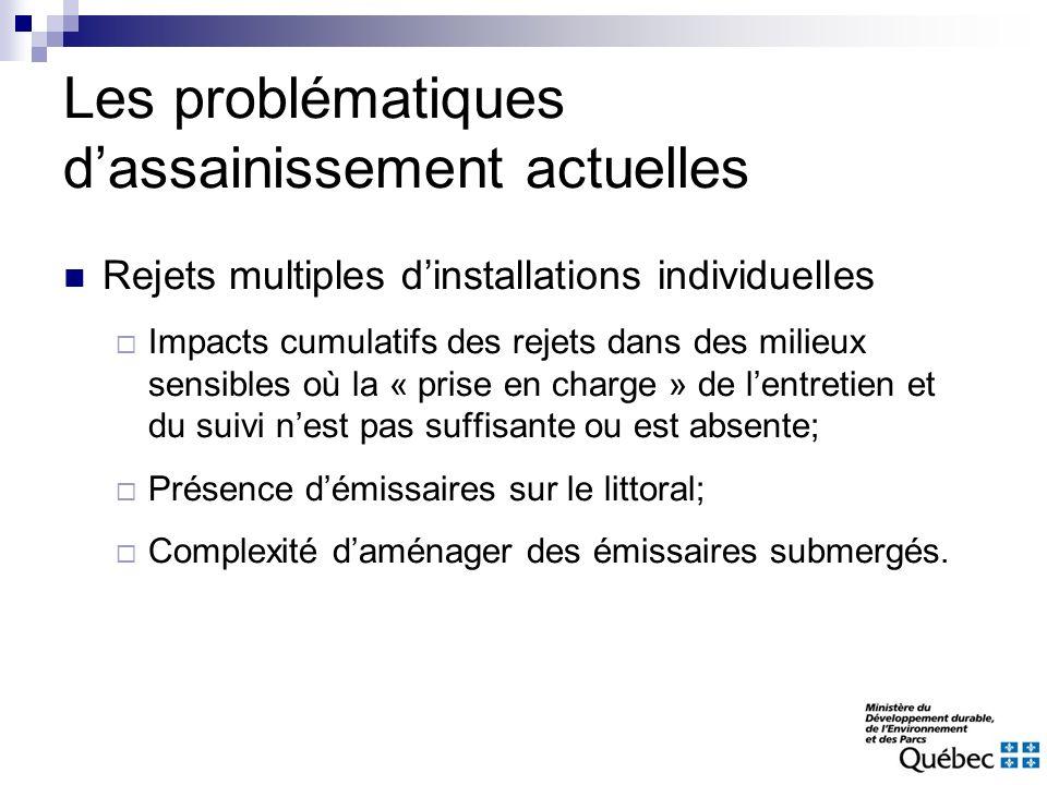 Les problématiques dassainissement actuelles Rejets multiples dinstallations individuelles Impacts cumulatifs des rejets dans des milieux sensibles où