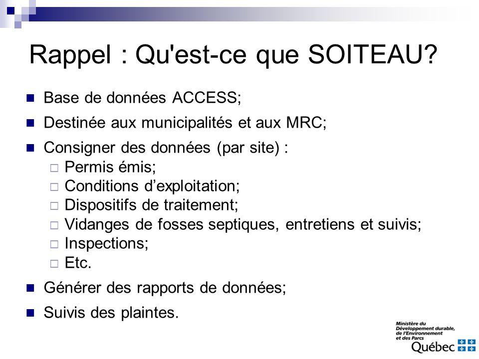 Rappel : Qu'est-ce que SOITEAU? Base de données ACCESS; Destinée aux municipalités et aux MRC; Consigner des données (par site) : Permis émis; Conditi