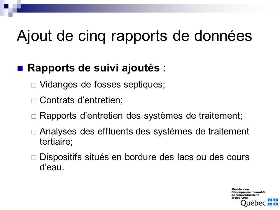 Ajout de cinq rapports de données Rapports de suivi ajoutés : Vidanges de fosses septiques; Contrats dentretien; Rapports dentretien des systèmes de t