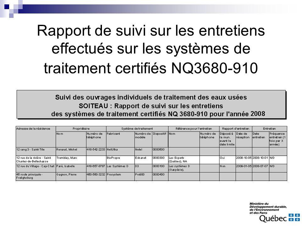 Rapport de suivi sur les entretiens effectués sur les systèmes de traitement certifiés NQ3680-910