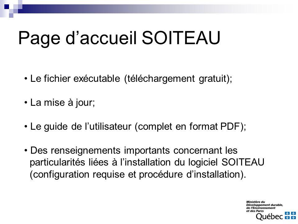 Page daccueil SOITEAU Le fichier exécutable (téléchargement gratuit); La mise à jour; Le guide de lutilisateur (complet en format PDF); Des renseignem