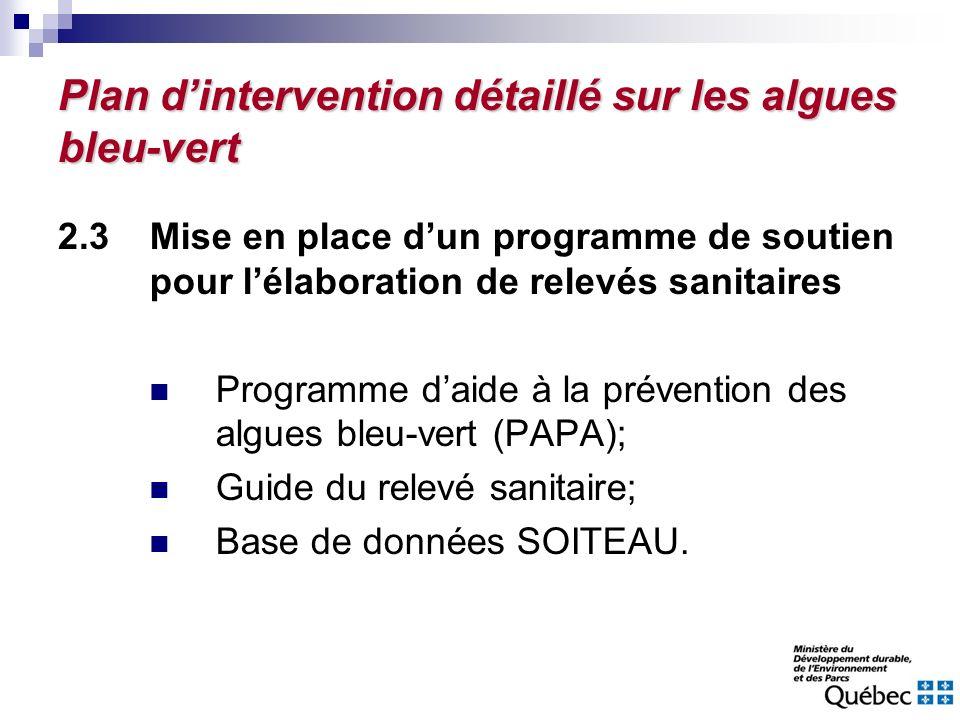 Plan dintervention détaillé sur les algues bleu-vert 2.3Mise en place dun programme de soutien pour lélaboration de relevés sanitaires Programme daide
