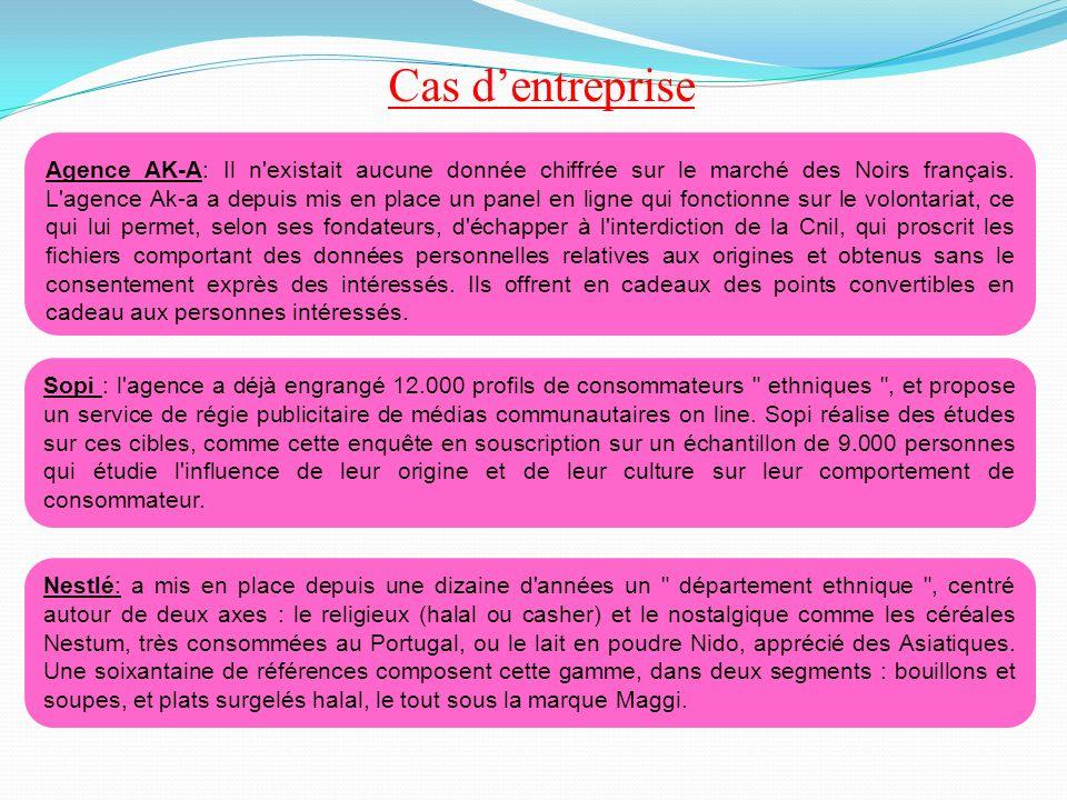 Agence AK-A: Il n'existait aucune donnée chiffrée sur le marché des Noirs français. L'agence Ak-a a depuis mis en place un panel en ligne qui fonction